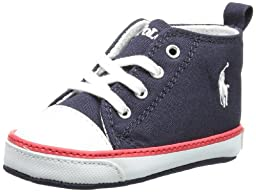 Ralph Lauren Layette Harbour Hi Top Sneaker (Infant/Toddler),Navy,3 M US Infant