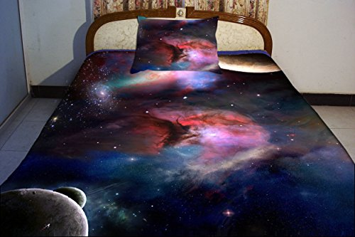 Anlye Bedding Collections Set 2 Sides Printing Galaxy Quilt Coverlet Planetary Satellites Bed Linen Sheets With 2 Matching Planetary Satellites Pillow Covers Full front-912266