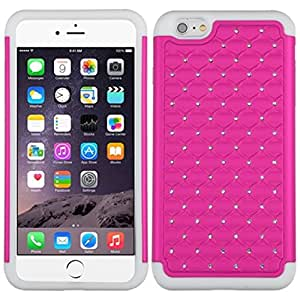 MyBat FullStar Protector Cover for iPhone 6 Plus - Retail Packaging - Hot Pink/Solid White