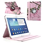 For Samsung Galaxy Tab 3 10.1 P5200 P5210 360 Degree Rotary Leather Stand Cover Pink Background Branch Pattern Cover Clutch Style Cell Phone Purse Wallet