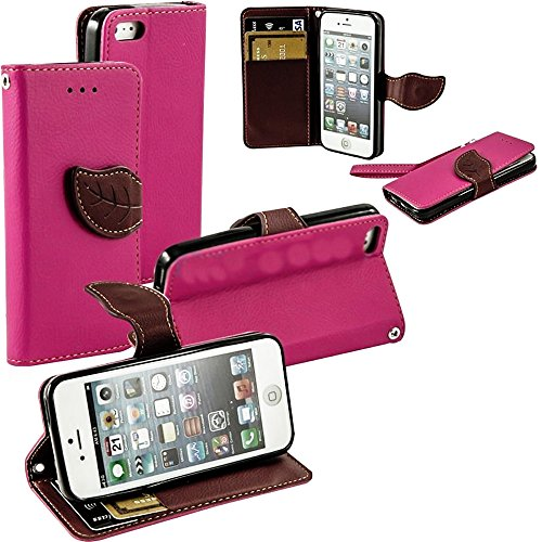 Mylife (Tm) Hot Pink And Brown Leaf Design - Textured Koskin Faux Leather (Card And Id Holder + Magnetic Detachable Closing) Slim Wallet For Iphone 5/5S (5G) 5Th Generation Smartphone By Apple (External Rugged Synthetic Leather With Magnetic Clip + Intern