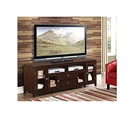 WYNDENHALL Essex 72-inch Wide Contemporary Coffee Brown Wood TV Media Stand