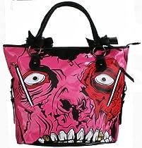 Iron Fist Zombie Gold Digger Vegan Shoulder Bag Purse with Removable Long Shoulder Strap Pink and Black