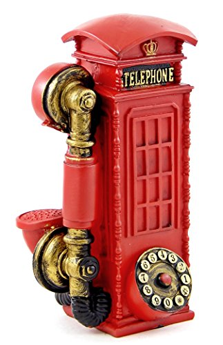 8 Inches British English Poly Resin Money Piggy Bank London Street Red Telephone Booth (British Statue compare prices)