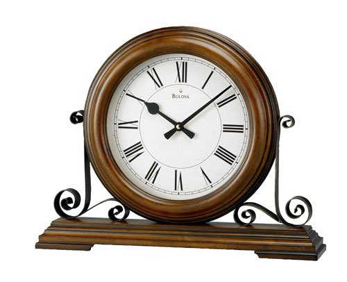Bulova Evansdale Solid Wood With Metal Accents Mantle Clock