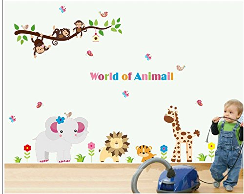 Apexshell (Tm) Owl Theme Cartoon Style Money Playing On The Branch With Annimals Under It Removable High Quality Diy Decorate Wall Decal Sticker Decor For Kids, Home, Nursery Room, For Children'S Bedroom front-495296