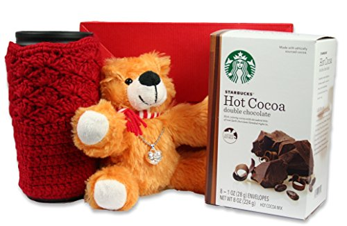 Valentines Day Gift Teddy Bear and Heart Locket Charm with Starbucks Double Chocolate Hot Cocoa with Travel Coffee Mug and Red Sweater Sleeve