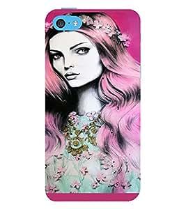 PrintVisa Beautiful Girl Art 3D Hard Polycarbonate Designer Back Case Cover for Apple iPhone 5C