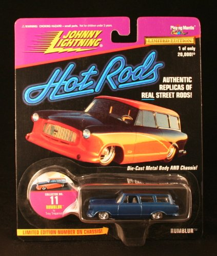 RUMBLUR * BLUE * Johnny Lightning 1997 HOT RODS Release Two 1:64 Scale Die Cast Vehicle