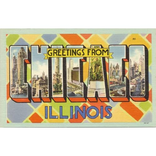 1950s Vintage Postcard - Large Letter Greetings from Chicago Illinois
