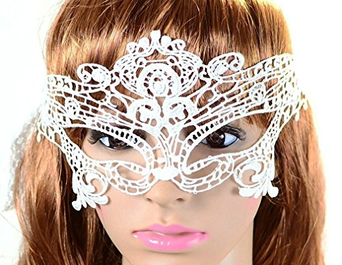 Sexy Mysterious Lace Eye Mask Masquerade [ White Butterfly Style ] Fancy Dress Party
