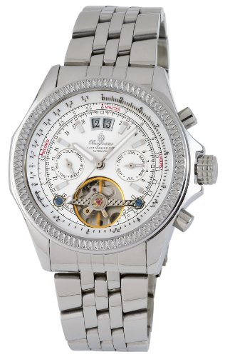 Burgmeister San Francisco Bm313-181 Gents Automatic Analogue Wristwatch Stainless Steel Bracelet White Dial Visible Balance-Wheel Day Date Month