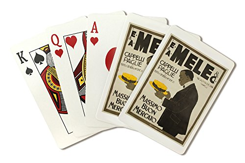 mele-and-ci-cappelli-paglie-vintage-poster-artist-laskoff-italy-c-1902-playing-card-deck-52-card-pok