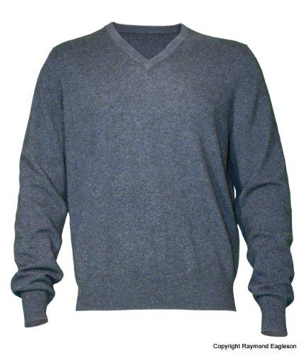 Noluur Mens Cashmere V Neck Jumper in Pewter Grey Size L