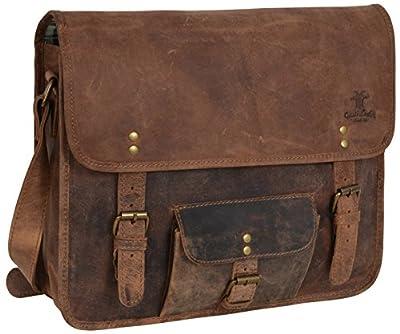 """Gusti Cuir studio """"Matt"""" sac à bandoulière sac messenger sac porté épaule sac en cuir véritable cabas en cuir vintage rétro besace université soirée marron 2U1-17-1"""