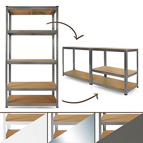 Schwerlastregal-System-Farbe-whlbar-Steckregal-auch-als-Werkbank-aufstellbar-ideales-Werkstattregal-Kellerregal-180x90x40cm-grau