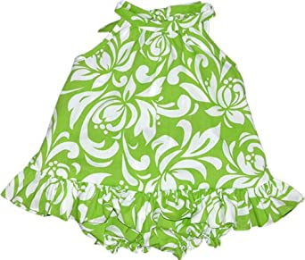 RJC Baby Girls Bold Frolic Spree Halter 2pc Set White on Green 3T