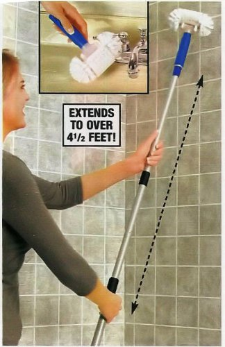 "54"" Telescoping Long Handle Swivel Head Tile And Grout Scrub Brush"