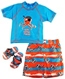Wippette Baby Boys Infant Pirat Octopus Rashguard Swim Trunk Set and Flip Flops