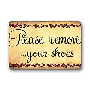 Custom machine washable door mat please remove your shoes indoor outdoor doormat 30 - Remove shoes doormat ...
