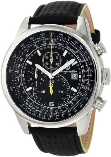 Burgmeister Melbourne Bm505-122 Gents Chronograph  Black Leather Strap-Gelb Black Dial Date Tachymeter