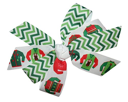 WD2U Girls Green Chevron & Ugly Christmas Sweater Party Hair Bow French Clip