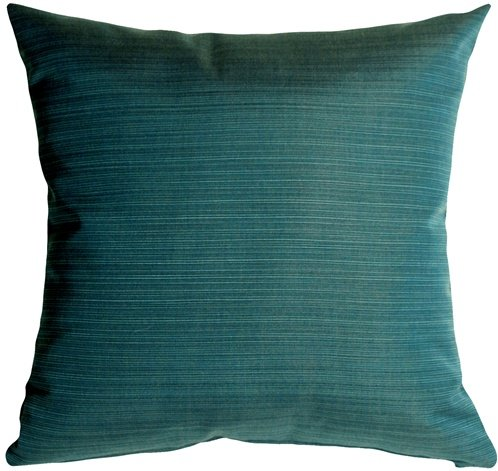 Pillow Decor - Sunbrella Dupione Deep Sea Outdoor Throw Pillow