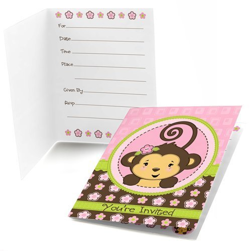 Monkey Girl Fill-in Party Invitations (8 count)