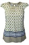 Ex Dorothy Perkins Mustard & Navy Tile Print Cap Sleeve Tie Back Blouse Top (UK 12)