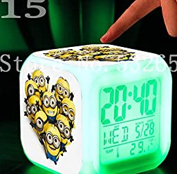 Minion Despicable Me Toys LED 7 Colors Change Digital Alarm LED Clock Cartoon Night Colorful Toys for Kids (Style 15)