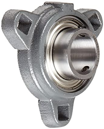 Boston Gear XL3 Series Light-Duty Mounted Ball Bearing Flange Unit, 3 Bolt Holes, Setscrew Lock, Contact Seals, Ductile Iron