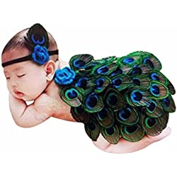 DZT1968® Baby Girl Headband With Peacock Feather Wing Costume Photo Prop Outfit