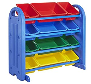 ECR4Kids 4 Tier Plastic Storage Organizer with Bins