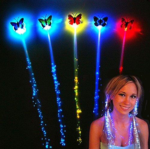 German Trendseller® - mèche colorée?avec papillon lumineuse?le clip retourn la couleur?bijoux des cheveux led