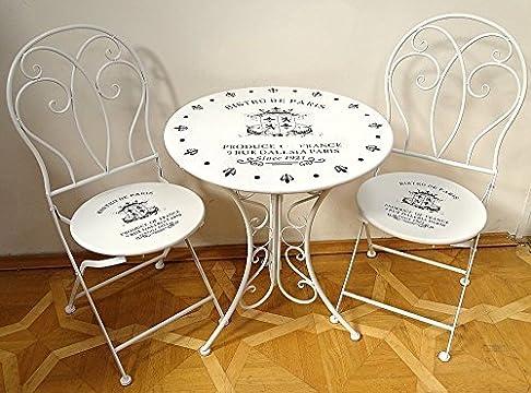 bianco Attrezzatura giardino, elegante OGNI ARREDAMENTO metallo, Bistro mobili