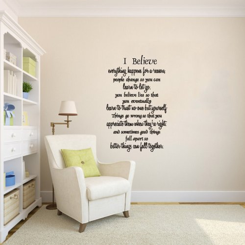 I Believe Everything Happens For A Reason - Marilyn Monroe Quote Wall Decor Girl'S Bedroom Quote Decal Vinyl Words Wall Art Home Office Wall Decor Mural front-354982