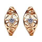 Snowman Lee Hollowed Out Diamond Surrounded By Small Beads 18k Rose Gold Plated Hoop Earrings