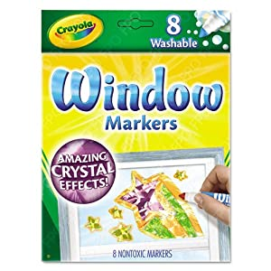 Crayola® - Washable Window FX Markers, Conical, Astd Crystalized Colors, 8/Set - Sold As 1 Set - Create cool artwork and effects on windows, mirrors and more!