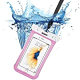 iphone7/6s 防水ケース, ESR IPX8 防水力抜群 水、お湯、雪や埃等完璧にシャットアウト ストラップ付属 6センチ以下全機種対応(ピンク)