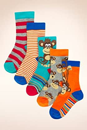 5 Pairs Of Younger Boys' Cotton Rich Assorted Monkey Socks