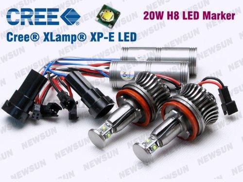 Newsun 2 Sets 20W H8 Cree Led Angel Eye Halo Bulb Light For Bmw E92 E93 E90 X5 E60 E70 E71 E82 Led Marker Light H8 White Canbus Error Free