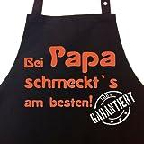 Bei PAPA schmeckt`s am besten! Garantiert! - Kochschürze, Latzschürze mit verstellbarem Nackenband und Seitentasche - Die Geschenkidee!