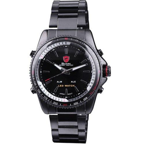 Shark Mens Led Date Day Analog Sport Black Stainless Steel Quartz Watch Sh001