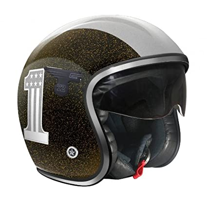 GPA casque jet CARBON SOLAR ONE rouge flocon, taille:M