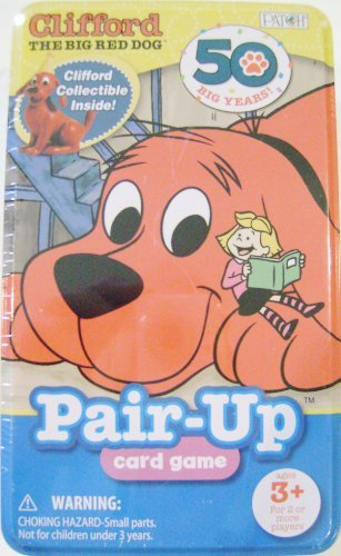 Clifford the Big Red Dog Pair-up Card Game with Collectible Clifford Figurine Included By Patch