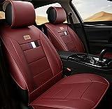 (ファーストクラス)FirstClass 四季用 車シートカバー 前部 フロントシートカバー 車シート保護 エアバッグホールあり PUレザー製 通気性に富む 快適 スムーズ 5シート車汎用 2枚 レッド