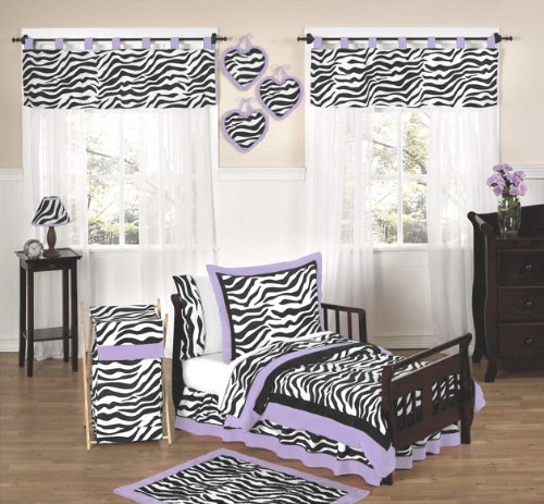Purple Funky Zebra Toddler Bedding 5 Pc Set By Sweet Jojo Designs front-105095
