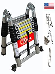 Euro Double Telescopic Aluminium ladder 5 meter (17 feet) - Stores at 3 feet - Made in USA - A Frame 9 feet - Wall Support 17 feet - Ultra Portable - Rapid unlock hinge