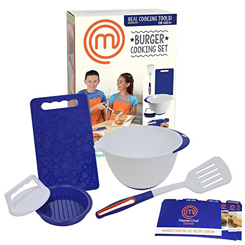 MasterChef Junior Burger Cooking Set - 5 Pc. Kit Includes Real Cooking Tools for Kids and Recipes (Cooking Kits For Children compare prices)