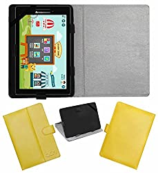 Acm Leather Flip Flap Case For Lenovo Cg Slate Grade K2 Tablet Cover Magnetic Closure Stand Yellow